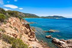 Άποψη της παραλίας Rondinara στο νησί της Κορσικής στη Γαλλία Στοκ φωτογραφίες με δικαίωμα ελεύθερης χρήσης