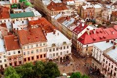 Άποψη της παλαιάς πόλης Lviv Στοκ Φωτογραφίες