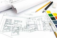 Άποψη της περιοχής εργασίας σχεδιαστών με τα εργαλεία σχεδίων Στοκ Εικόνα
