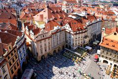 Άποψη της Πράγας από τον παλαιό πύργο Δημαρχείων Στοκ Εικόνες