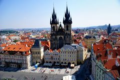 Άποψη της Πράγας από τον παλαιό πύργο Δημαρχείων Στοκ εικόνες με δικαίωμα ελεύθερης χρήσης