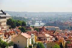 Άποψη της Πράγας και του ποταμού Vltava Στοκ Εικόνα