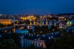 Άποψη της Πράγας στη νύχτα Στοκ Εικόνες