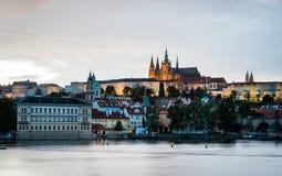 Άποψη της Πράγας το βράδυ, Δημοκρατία της Τσεχίας Στοκ Εικόνες