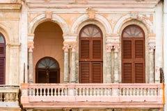 Άποψη της πρόσοψης του κτηρίου, Αβάνα, Κούβα Κινηματογράφηση σε πρώτο πλάνο Στοκ Εικόνες