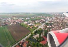 Άποψη της πόλης Βελιγραδι'ου από το φωτιστικό του πετώντας αεροπλάνου Πόλη Βελιγραδι'ου στη Σερβία στοκ φωτογραφία με δικαίωμα ελεύθερης χρήσης