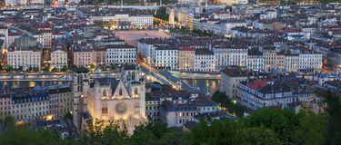 Άποψη της πόλης της Λυών από Fourviere τη νύχτα Στοκ εικόνα με δικαίωμα ελεύθερης χρήσης