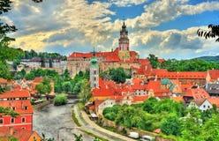 Άποψη της πόλης Cesky Krumlov, μια περιοχή κληρονομιάς της ΟΥΝΕΣΚΟ στη Δημοκρατία της Τσεχίας Στοκ Εικόνα