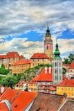 Άποψη της πόλης Cesky Krumlov, μια περιοχή κληρονομιάς της ΟΥΝΕΣΚΟ στη Δημοκρατία της Τσεχίας Στοκ φωτογραφίες με δικαίωμα ελεύθερης χρήσης