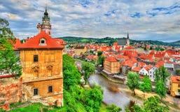 Άποψη της πόλης Cesky Krumlov, μια περιοχή κληρονομιάς της ΟΥΝΕΣΚΟ στη Δημοκρατία της Τσεχίας Στοκ Φωτογραφίες