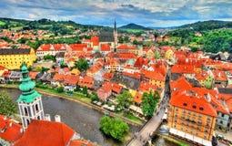 Άποψη της πόλης Cesky Krumlov, μια περιοχή κληρονομιάς της ΟΥΝΕΣΚΟ στη Δημοκρατία της Τσεχίας Στοκ Εικόνες