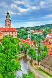 Άποψη της πόλης Cesky Krumlov, μια περιοχή κληρονομιάς της ΟΥΝΕΣΚΟ στη Δημοκρατία της Τσεχίας Στοκ Φωτογραφία