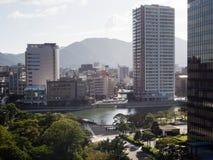 Άποψη της πόλης Kitakyushu από το τελευταίο όροφο κάστρων Kokura στοκ φωτογραφίες με δικαίωμα ελεύθερης χρήσης