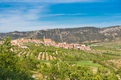 Άποψη της πόλης Ulldemolins, Catalunya, Ισπανία διάστημα αντιγράφων Διάστημα για το κείμενο Στοκ φωτογραφία με δικαίωμα ελεύθερης χρήσης