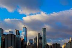 Άποψη της πόλης του Λόουερ Μανχάταν και της Νέας Υόρκης πύργων ελευθερίας Στοκ εικόνες με δικαίωμα ελεύθερης χρήσης