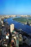 Άποψη της πόλης Χο Τσι Μινχ από τον οικονομικό πύργο Bitexco. Στοκ εικόνα με δικαίωμα ελεύθερης χρήσης