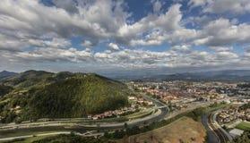Άποψη της πόλης Celje στο τοπίο Στοκ Εικόνες