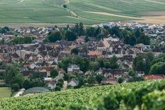 Άποψη της πόλης Chablis στοκ εικόνα