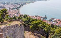 Άποψη της πόλης Nafpaktos από το κάστρο, Ελλάδα Στοκ Εικόνα