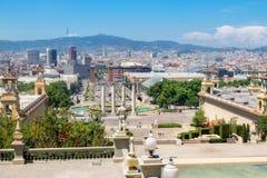 Άποψη της πλατείας Espanya από το λόφο Montjuic Βαρκελώνη Ισπανία Στοκ εικόνα με δικαίωμα ελεύθερης χρήσης
