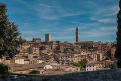 Άποψη της Σιένα και Torre del Manja Tower Στοκ Εικόνες