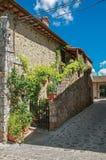 Άποψη της σκάλας με τις εγκαταστάσεις από ένα παλαιό σπίτι στο χωριουδάκι Monteriggioni στοκ εικόνες