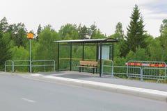 Άποψη της στάσης λεωφορείου που απομονώνεται Στοκ Εικόνα