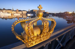 Άποψη της Στοκχόλμης με την κορώνα Στοκ φωτογραφία με δικαίωμα ελεύθερης χρήσης