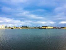 Άποψη της στο κέντρο της πόλης κωμόπολης κεντρικών λιμανιών πόλεων στοκ εικόνες με δικαίωμα ελεύθερης χρήσης