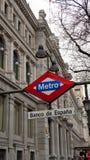 Άποψη της τράπεζας της Ισπανίας, Μαδρίτη Banco de España Στοκ Φωτογραφίες