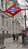 Άποψη της τράπεζας της Ισπανίας, Μαδρίτη Banco de España Στοκ Εικόνες