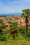 Άποψη της Φλωρεντίας από Piazzale Michelangelo - ποταμός Arno με Ponte Vecchio και Palazzo Vecchio - την Τοσκάνη, Ιταλία στοκ εικόνα με δικαίωμα ελεύθερης χρήσης
