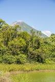 Άποψη της Concepción Volcano από την πράσινη λιμνοθάλασσα, νησί Ometepe στοκ φωτογραφία