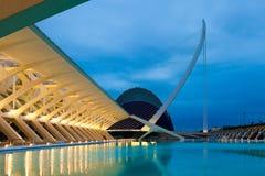 Άποψη της EL Museu de les Ciencies Πρίντσιπε Felipe το βράδυ Στοκ Εικόνες