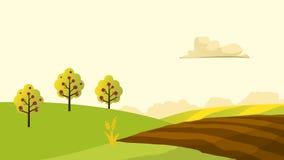 Άποψη τοπίων γεωργίας και καλλιέργειας Αγροτουρισμός _ τοπίο αγροτικό Στοιχεία σχεδίου για τις πληροφορίες γραφικές Στοκ Φωτογραφία