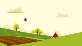 Άποψη τοπίων γεωργίας και καλλιέργειας Αγροτουρισμός _ τοπίο αγροτικό Στοιχεία σχεδίου για τις πληροφορίες γραφικές, τους ιστοχώρ Στοκ φωτογραφίες με δικαίωμα ελεύθερης χρήσης