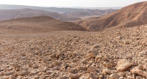 Άποψη τοπίων κοιλάδων βουνών ερήμων, διακινούμενη φύση του Ισραήλ Στοκ Εικόνα