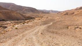 Άποψη τοπίων κοιλάδων ιχνών βουνών ερήμων, φύση του Ισραήλ Στοκ Φωτογραφία
