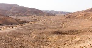 Άποψη τοπίων κοιλάδων ιχνών βουνών ερήμων, φύση του Ισραήλ Στοκ Εικόνες