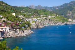 Άποψη τοπίων της ακτής της Αμάλφης, Ιταλία Στοκ φωτογραφία με δικαίωμα ελεύθερης χρήσης