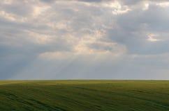 Άποψη τοπίων των πράσινων τομέων και των σύννεφων στο θερινή περίοδο Στοκ Εικόνες