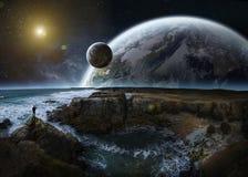 Άποψη του απόμακρου συστήματος πλανητών από τα τρισδιάστατα δίνοντας στοιχεία απότομων βράχων Στοκ φωτογραφία με δικαίωμα ελεύθερης χρήσης
