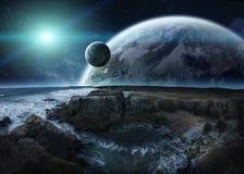Άποψη του απόμακρου συστήματος πλανητών από τα τρισδιάστατα δίνοντας στοιχεία απότομων βράχων Στοκ Εικόνες