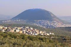 Άποψη του βιβλικού υποστηρίγματος Tabor, χαμηλότερο Galilee, Ισραήλ Στοκ Φωτογραφίες