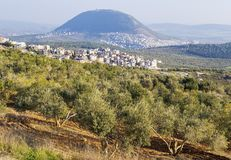 Άποψη του βιβλικού υποστηρίγματος Tabor, χαμηλότερο Galilee, Ισραήλ Στοκ εικόνες με δικαίωμα ελεύθερης χρήσης