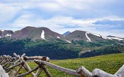 Άποψη του βουνού προβάτων από το αλπικό κέντρο επισκεπτών στο δύσκολο εθνικό πάρκο βουνών Στοκ Φωτογραφίες