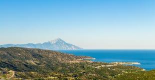 Άποψη του βουνού Athos Στοκ φωτογραφίες με δικαίωμα ελεύθερης χρήσης