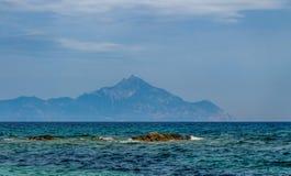 Άποψη του βουνού Athos Στοκ Εικόνες