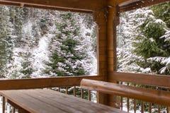 Άποψη του δάσους πεύκων του ξύλινου gazebo το χειμώνα στοκ εικόνες με δικαίωμα ελεύθερης χρήσης