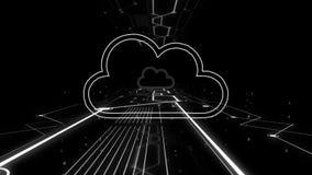 Άποψη του εικονιδίου αποθήκευσης σύννεφων που πετά στο ψηφιακό υπόβαθρο απεικόνιση αποθεμάτων